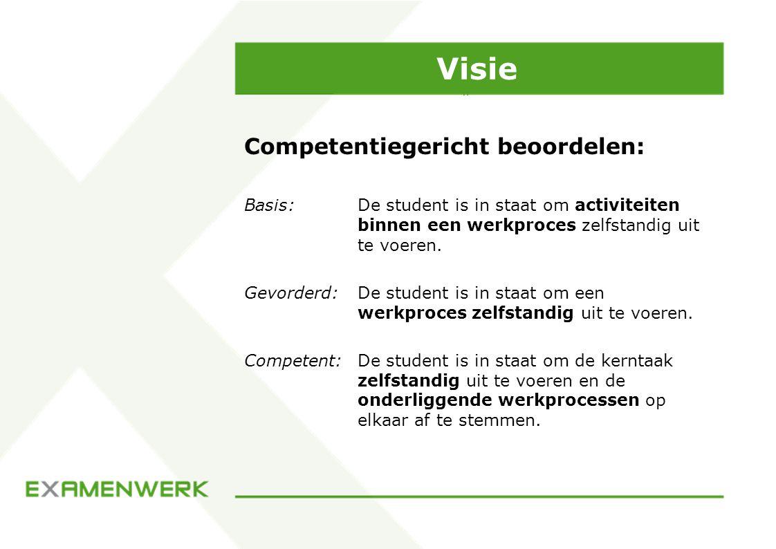Visie Competentiegericht beoordelen: Basis: De student is in staat om activiteiten binnen een werkproces zelfstandig uit te voeren.