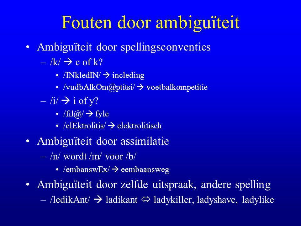 Fouten door ambiguïteit Ambiguïteit door spellingsconventies –/k/  c of k.