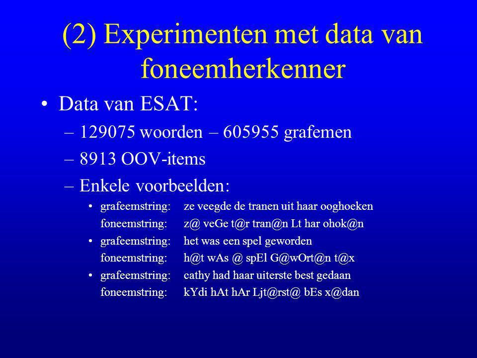 (2) Experimenten met data van foneemherkenner Data van ESAT: –129075 woorden – 605955 grafemen –8913 OOV-items –Enkele voorbeelden: grafeemstring:ze veegde de tranen uit haar ooghoeken foneemstring:z@ veGe t@r tran@n Lt har ohok@n grafeemstring:het was een spel geworden foneemstring:h@t wAs @ spEl G@wOrt@n t@x grafeemstring:cathy had haar uiterste best gedaan foneemstring:kYdi hAt hAr Ljt@rst@ bEs x@dan