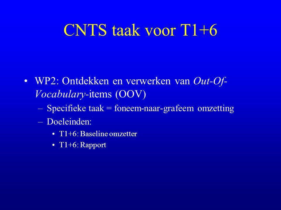 CNTS taak voor T1+6 WP2: Ontdekken en verwerken van Out-Of- Vocabulary-items (OOV) –Specifieke taak = foneem-naar-grafeem omzetting –Doeleinden: T1+6: Baseline omzetter T1+6: Rapport