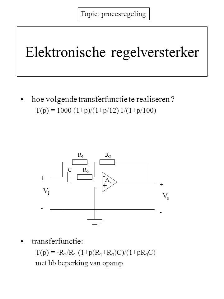 Topic: procesregeling PID regelaars proportionele regelaar –stuurspanning  foutspanning –steeds statische fout PD regelaar (proportioneel-differentiërend) –invoeren nulpunt = differentiatie A v0 V e + K n p V e = A v0 (1+p  n ) V e PID regelaar (proportioneel-integrerend- differentiërend) –integratie maakt statische fout nul –met zuivere integrator G(p) = K v K so /p  M(p) = K v K so /(p+K v K so H)  y(  ) = 1/H  K v =  0 /(HK so) vxvx y + -  H K so K v /p v z = Hy 1/H log G  log  K v K so /p 00