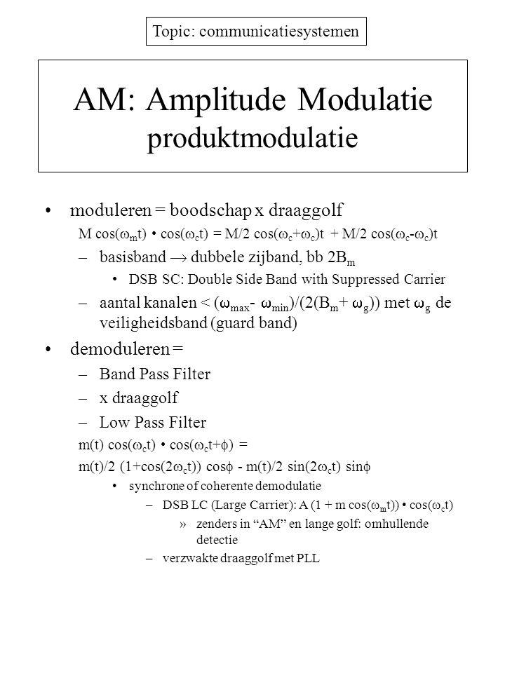 Topic: communicatiesystemen AM: Amplitude Modulatie produktmodulatie moduleren = boodschap x draaggolf M cos(  m t) cos(  c t) = M/2 cos(  c +  c )t + M/2 cos(  c -  c )t –basisband  dubbele zijband, bb 2B m DSB SC: Double Side Band with Suppressed Carrier –aantal kanalen < (  max -  min )/(2(B m +  g )) met  g de veiligheidsband (guard band) demoduleren = –Band Pass Filter –x draaggolf –Low Pass Filter m(t) cos(  c t) cos(  c t+  ) = m(t)/2 (1+cos(2  c t)) cos  - m(t)/2 sin(2  c t) sin  synchrone of coherente demodulatie –DSB LC (Large Carrier): A (1 + m cos(  m t)) cos(  c t) »zenders in AM en lange golf: omhullende detectie –verzwakte draaggolf met PLL
