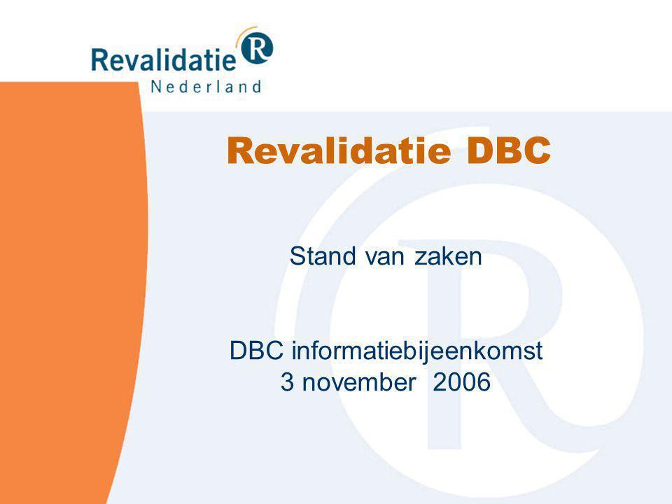 Stand van zaken DBC informatiebijeenkomst 3 november 2006 Revalidatie DBC