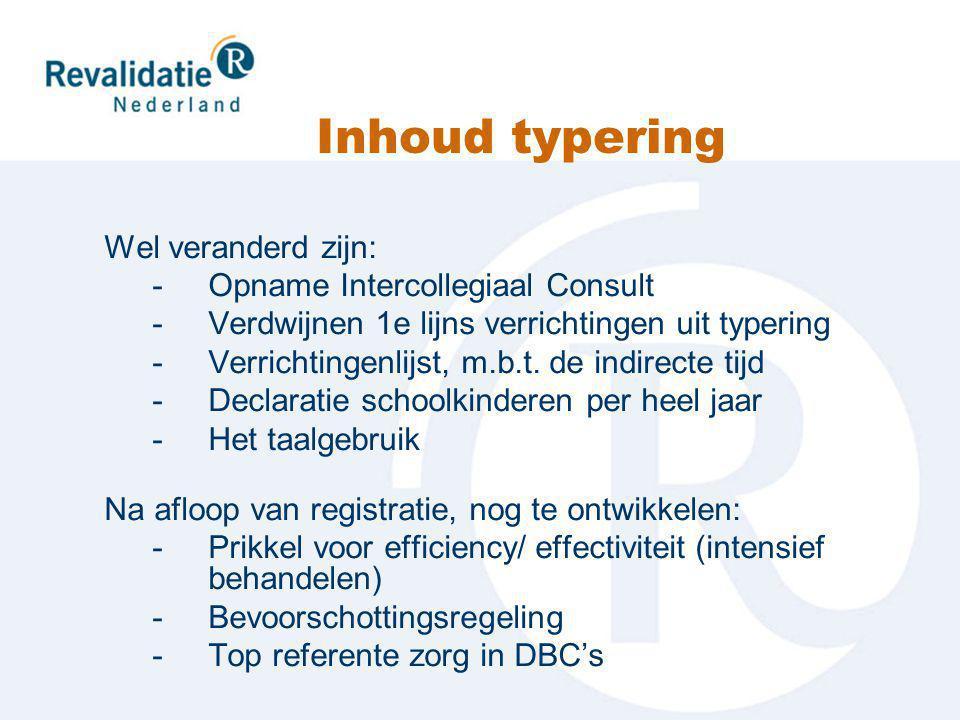Inhoud typering Wel veranderd zijn: -Opname Intercollegiaal Consult -Verdwijnen 1e lijns verrichtingen uit typering -Verrichtingenlijst, m.b.t.