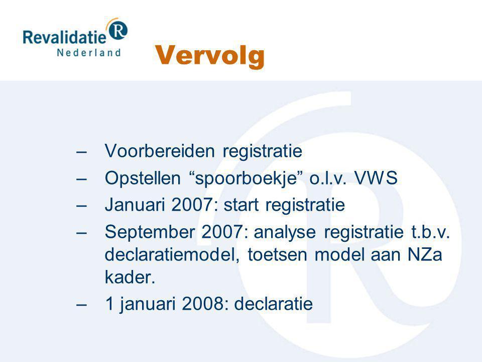 Vervolg –Voorbereiden registratie –Opstellen spoorboekje o.l.v.