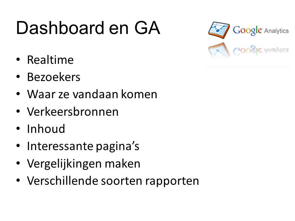Dashboard en GA Realtime Bezoekers Waar ze vandaan komen Verkeersbronnen Inhoud Interessante pagina's Vergelijkingen maken Verschillende soorten rapporten