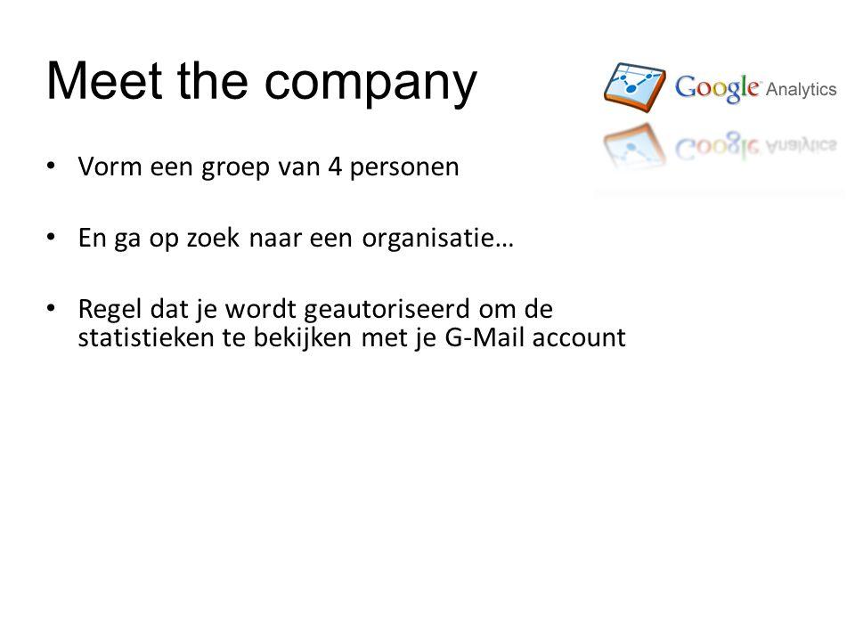 Meet the company Vorm een groep van 4 personen En ga op zoek naar een organisatie… Regel dat je wordt geautoriseerd om de statistieken te bekijken met je G-Mail account