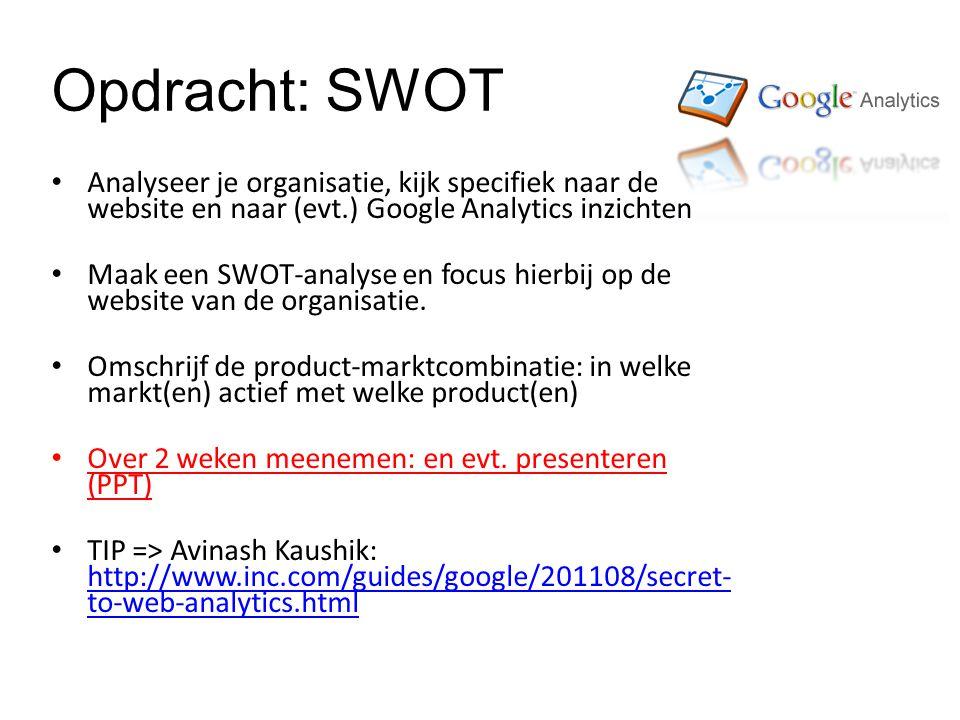 Opdracht: SWOT Analyseer je organisatie, kijk specifiek naar de website en naar (evt.) Google Analytics inzichten Maak een SWOT-analyse en focus hierbij op de website van de organisatie.