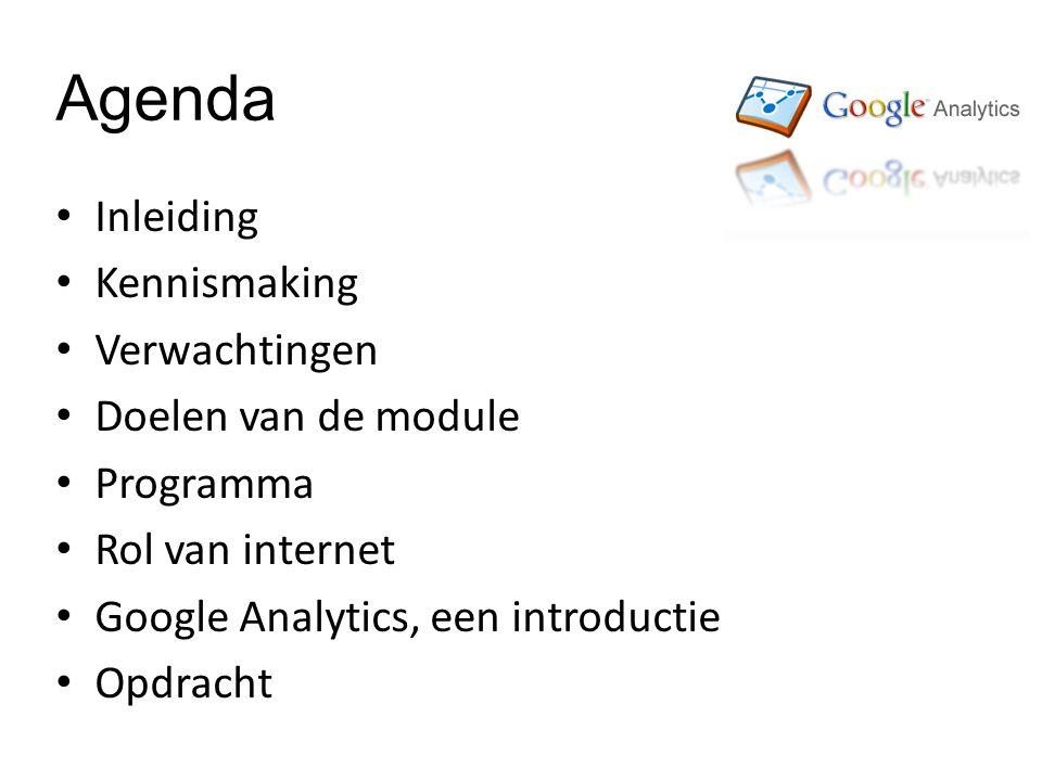 Agenda Inleiding Kennismaking Verwachtingen Doelen van de module Programma Rol van internet Google Analytics, een introductie Opdracht
