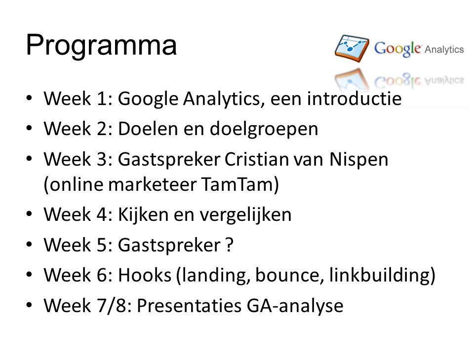 Programma Week 1: Google Analytics, een introductie Week 2: Doelen en doelgroepen Week 3: Gastspreker Cristian van Nispen (online marketeer TamTam) Week 4: Kijken en vergelijken Week 5: Gastspreker .