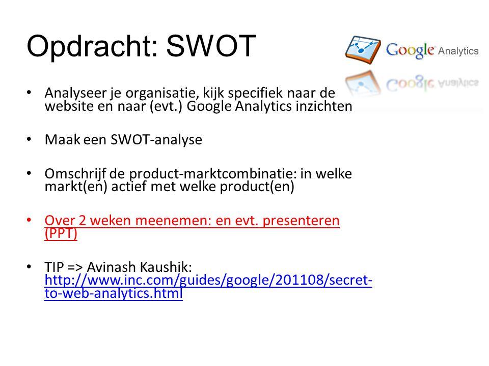 Opdracht: SWOT Analyseer je organisatie, kijk specifiek naar de website en naar (evt.) Google Analytics inzichten Maak een SWOT-analyse Omschrijf de product-marktcombinatie: in welke markt(en) actief met welke product(en) Over 2 weken meenemen: en evt.