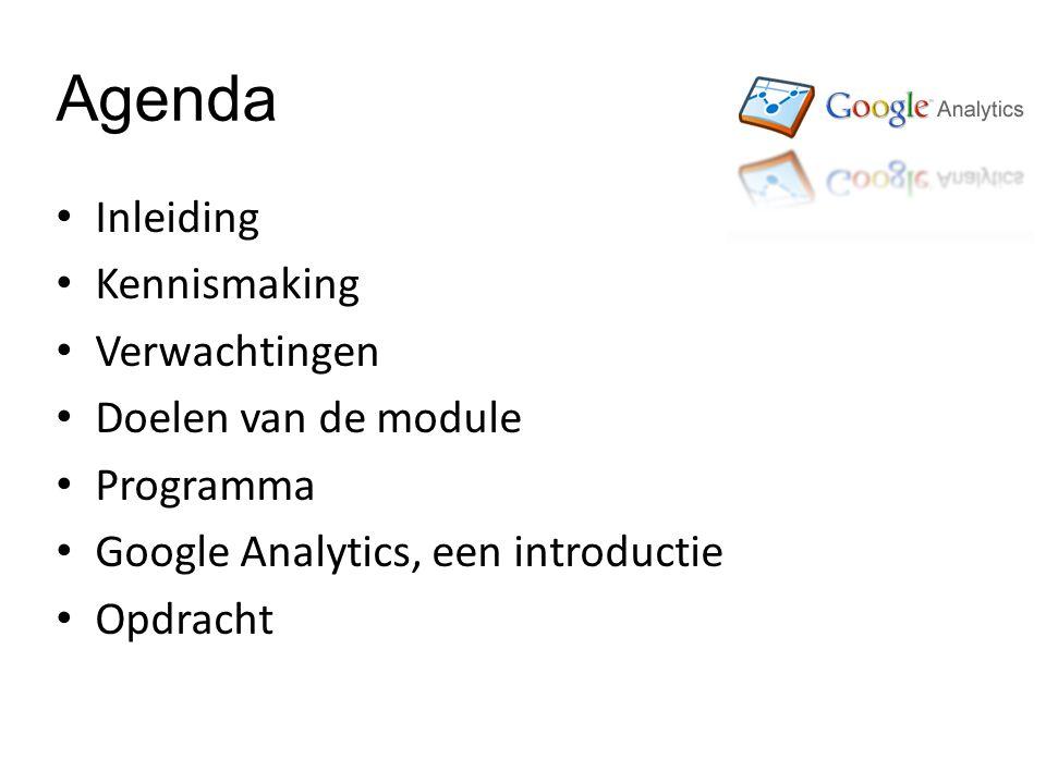 Agenda Inleiding Kennismaking Verwachtingen Doelen van de module Programma Google Analytics, een introductie Opdracht
