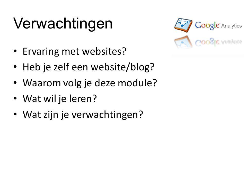 Verwachtingen Ervaring met websites. Heb je zelf een website/blog.
