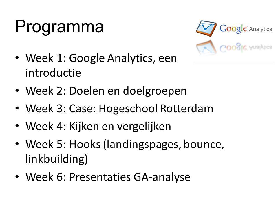 Programma Week 1: Google Analytics, een introductie Week 2: Doelen en doelgroepen Week 3: Case: Hogeschool Rotterdam Week 4: Kijken en vergelijken Week 5: Hooks (landingspages, bounce, linkbuilding) Week 6: Presentaties GA-analyse