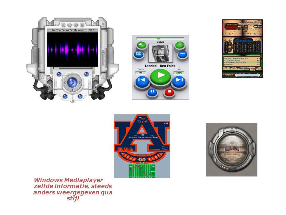 Windows Mediaplayer zelfde informatie, steeds anders weergegeven qua stijl