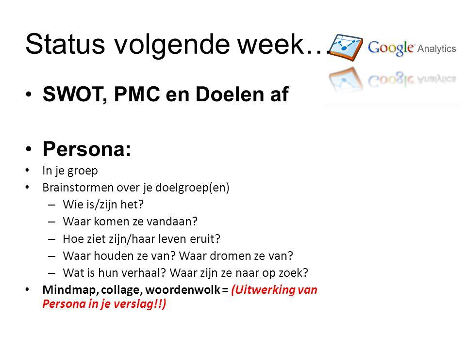 Status volgende week… SWOT, PMC en Doelen af Persona: In je groep Brainstormen over je doelgroep(en) – Wie is/zijn het.