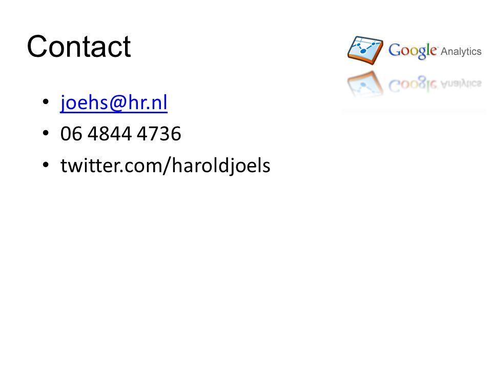 Contact joehs@hr.nl 06 4844 4736 twitter.com/haroldjoels