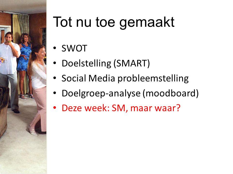 Tot nu toe gemaakt SWOT Doelstelling (SMART) Social Media probleemstelling Doelgroep-analyse (moodboard) Deze week: SM, maar waar?