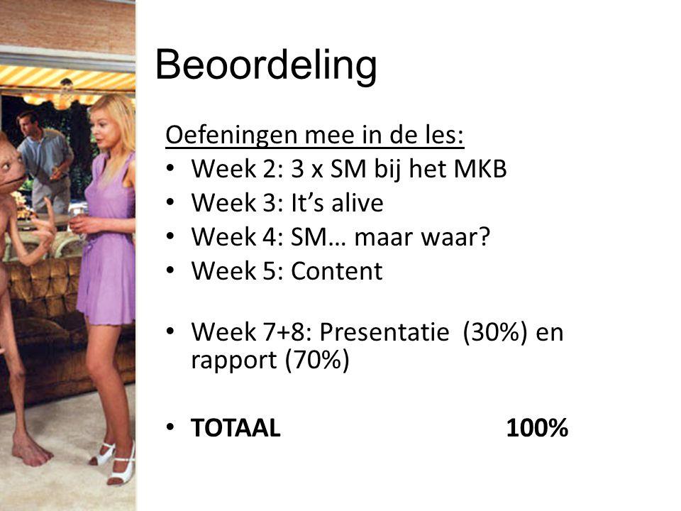 Beoordeling Oefeningen mee in de les: Week 2: 3 x SM bij het MKB Week 3: It's alive Week 4: SM… maar waar? Week 5: Content Week 7+8: Presentatie (30%)