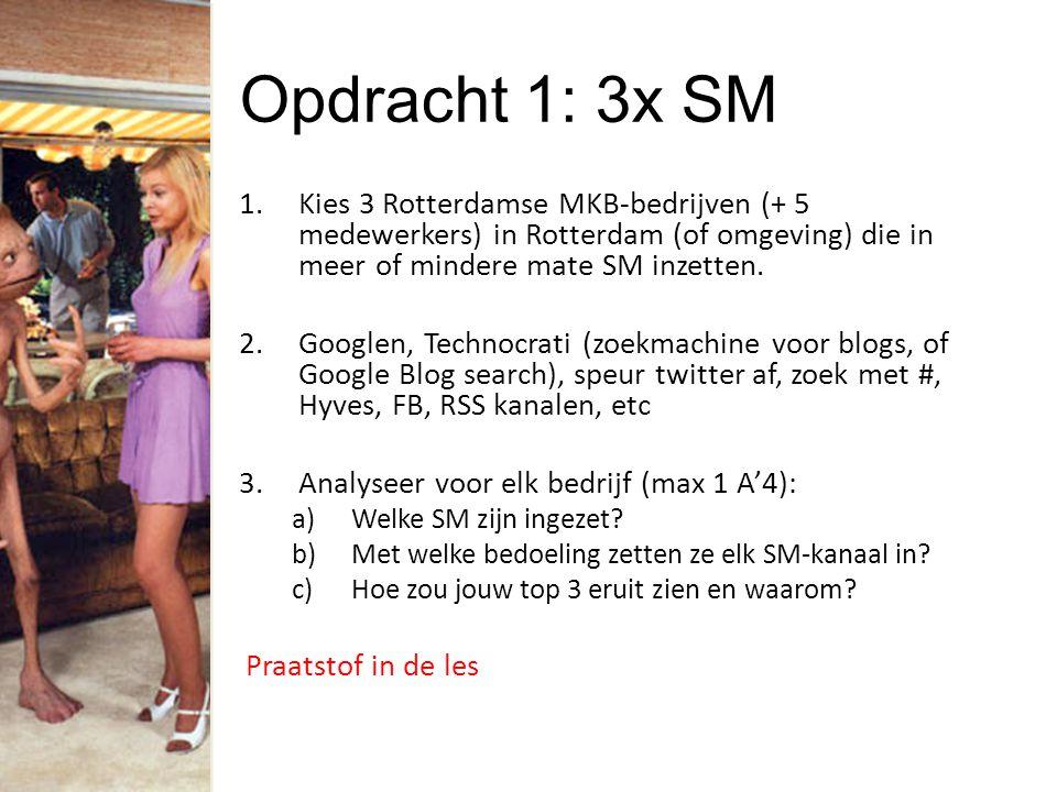 Opdracht 1: 3x SM 1.Kies 3 Rotterdamse MKB-bedrijven (+ 5 medewerkers) in Rotterdam (of omgeving) die in meer of mindere mate SM inzetten.