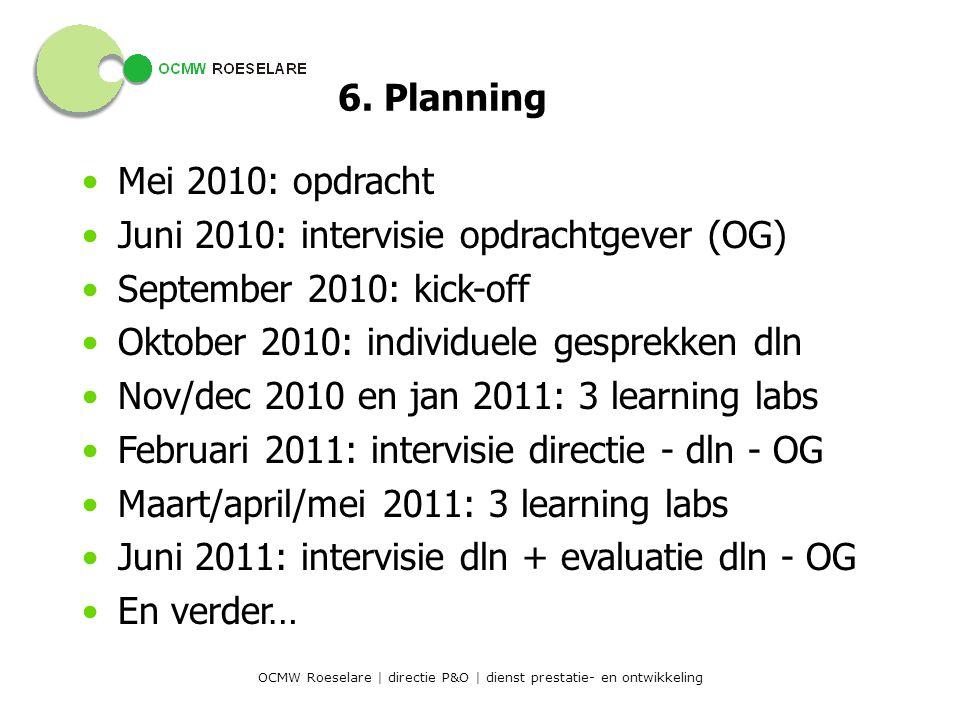 OCMW Roeselare | directie P&O | dienst prestatie- en ontwikkeling 6.