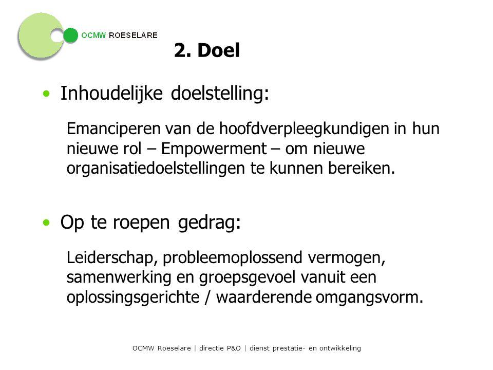 OCMW Roeselare | directie P&O | dienst prestatie- en ontwikkeling Binnen de ruimere HR-visie op leidinggeven: –Werken met doelstellingen –Regelmatige feedback –Erkenning/waardering (focus op sterktes) –Aandacht voor loopbaanontwikkeling 2.