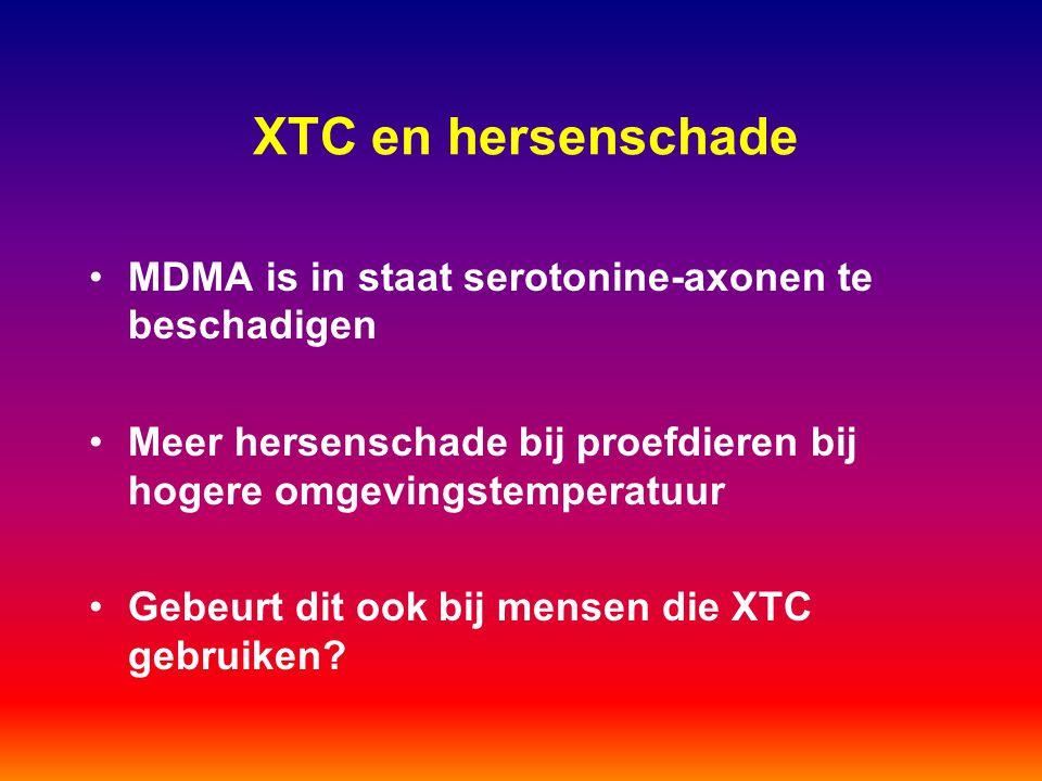 XTC en hersenschade MDMA is in staat serotonine-axonen te beschadigen Meer hersenschade bij proefdieren bij hogere omgevingstemperatuur Gebeurt dit oo