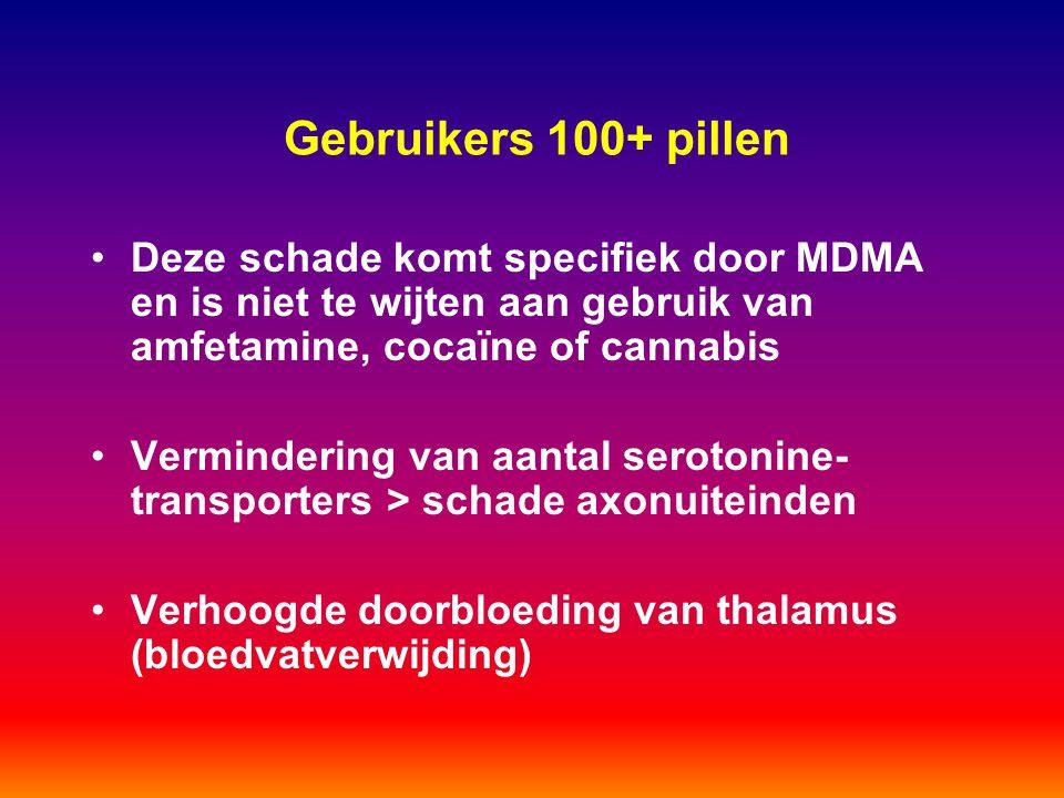 Gebruikers 100+ pillen Deze schade komt specifiek door MDMA en is niet te wijten aan gebruik van amfetamine, cocaïne of cannabis Vermindering van aant