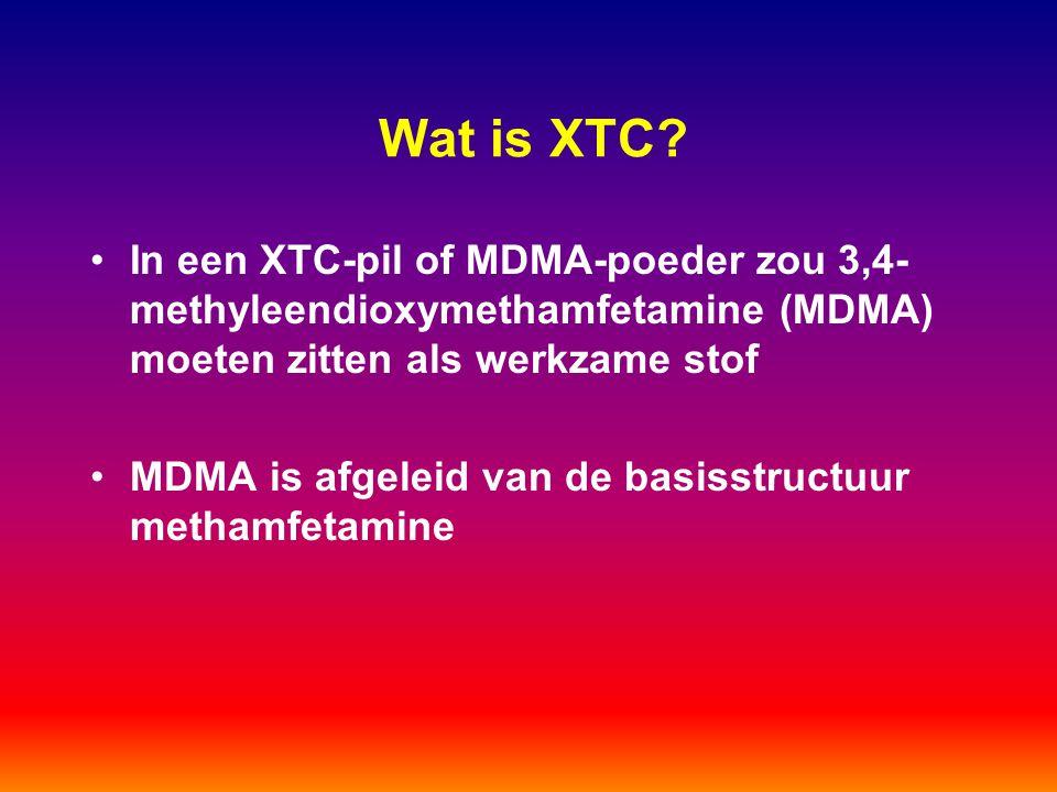 Wat is XTC? In een XTC-pil of MDMA-poeder zou 3,4- methyleendioxymethamfetamine (MDMA) moeten zitten als werkzame stof MDMA is afgeleid van de basisst