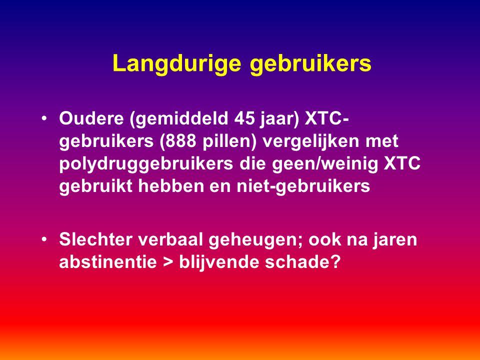 Langdurige gebruikers Oudere (gemiddeld 45 jaar) XTC- gebruikers (888 pillen) vergelijken met polydruggebruikers die geen/weinig XTC gebruikt hebben e