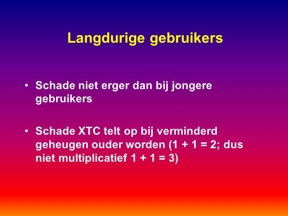 Langdurige gebruikers Schade niet erger dan bij jongere gebruikers Schade XTC telt op bij verminderd geheugen ouder worden (1 + 1 = 2; dus niet multip