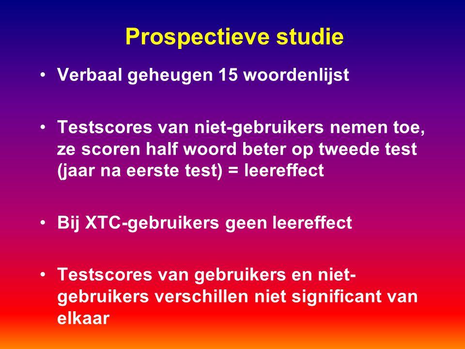 Prospectieve studie Verbaal geheugen 15 woordenlijst Testscores van niet-gebruikers nemen toe, ze scoren half woord beter op tweede test (jaar na eers