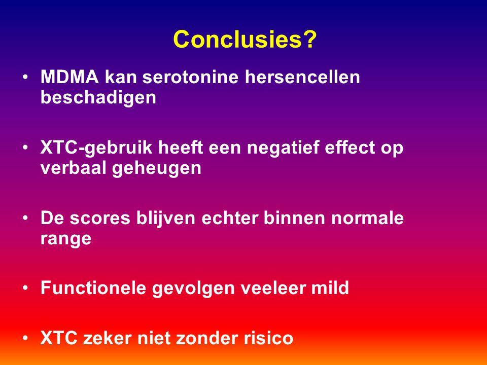 Conclusies? MDMA kan serotonine hersencellen beschadigen XTC-gebruik heeft een negatief effect op verbaal geheugen De scores blijven echter binnen nor