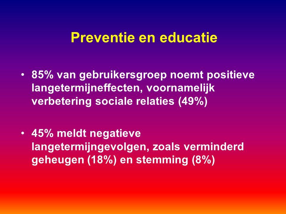 Preventie en educatie 85% van gebruikersgroep noemt positieve langetermijneffecten, voornamelijk verbetering sociale relaties (49%) 45% meldt negatiev