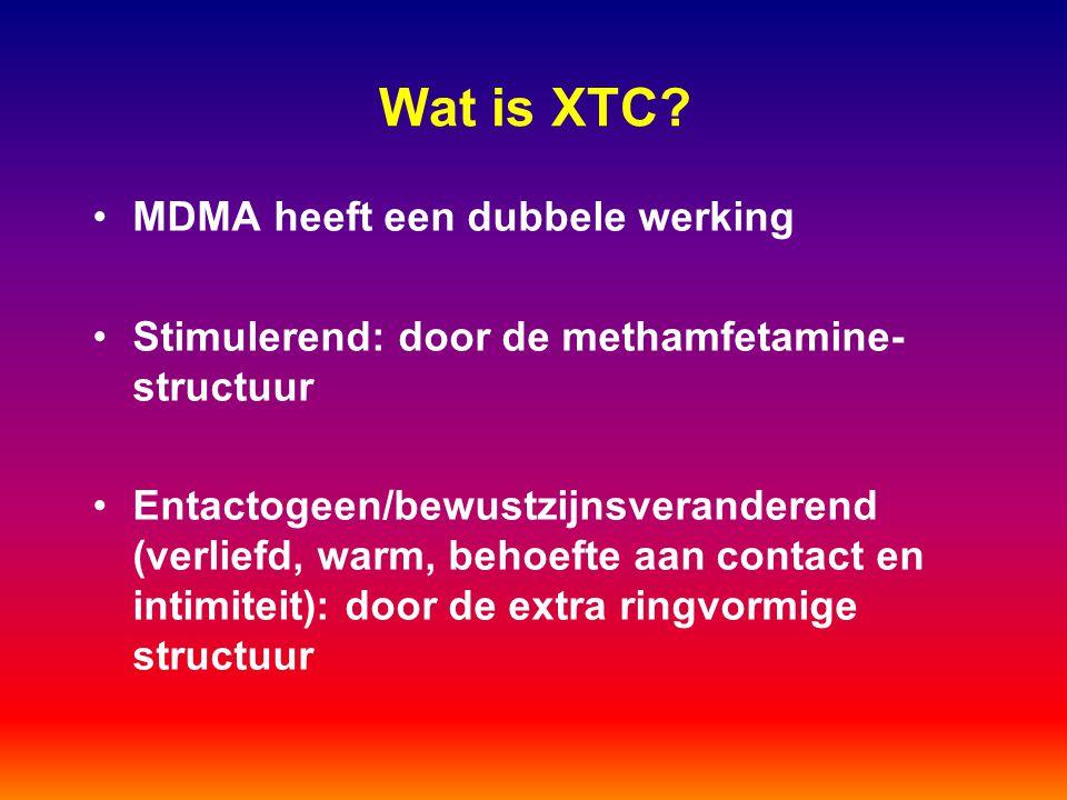 Wat is XTC? MDMA heeft een dubbele werking Stimulerend: door de methamfetamine- structuur Entactogeen/bewustzijnsveranderend (verliefd, warm, behoefte