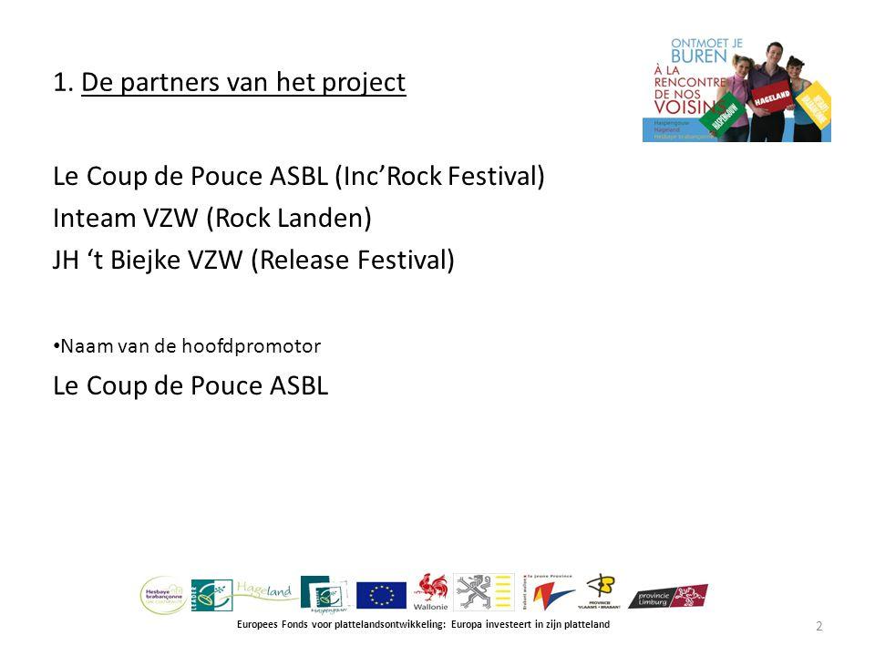 1. De partners van het project Europees Fonds voor plattelandsontwikkeling: Europa investeert in zijn platteland Le Coup de Pouce ASBL (Inc'Rock Festi