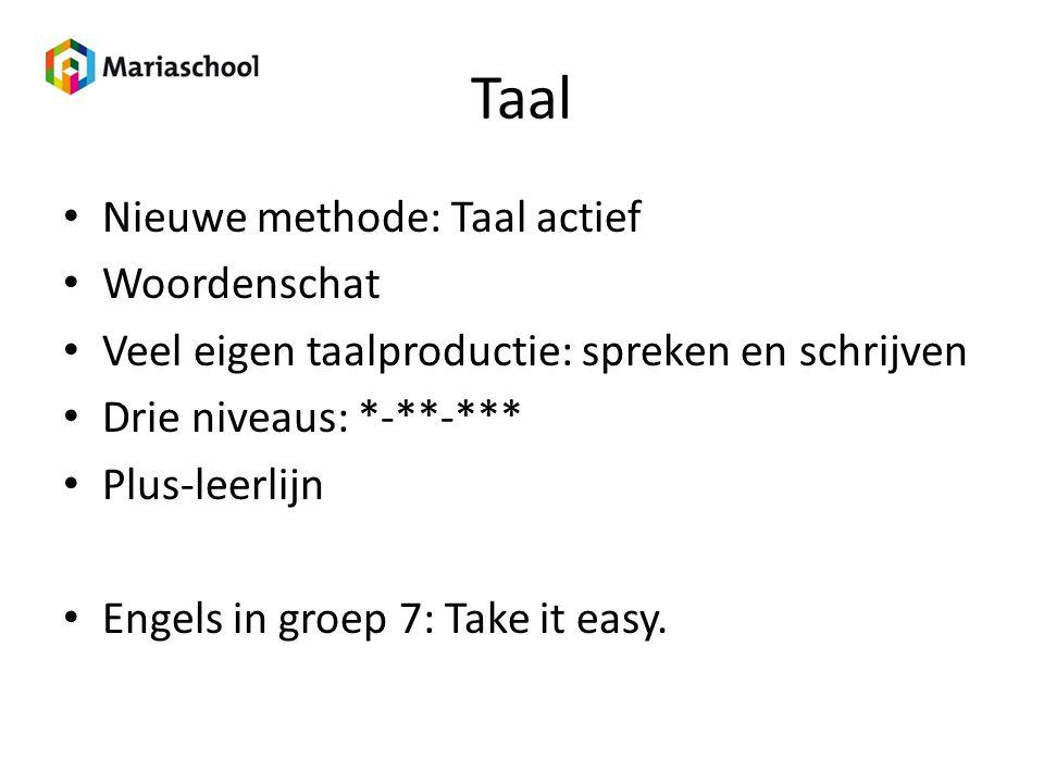 Taal Nieuwe methode: Taal actief Woordenschat Veel eigen taalproductie: spreken en schrijven Drie niveaus: *-**-*** Plus-leerlijn Engels in groep 7: T