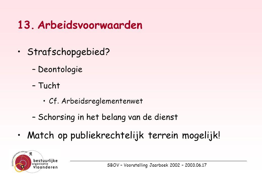 SBOV – Voorstelling Jaarboek 2002 – 2003.06.17 13.Arbeidsvoorwaarden Strafschopgebied.