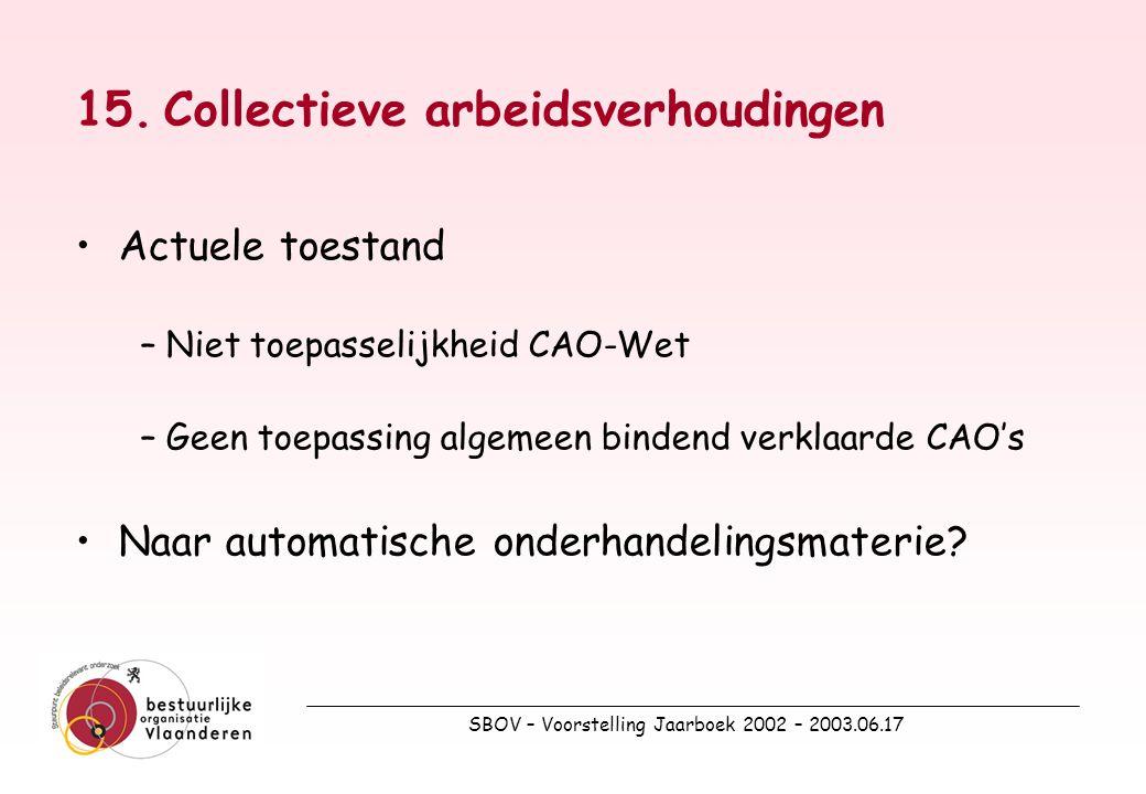 SBOV – Voorstelling Jaarboek 2002 – 2003.06.17 15.Collectieve arbeidsverhoudingen Actuele toestand –Niet toepasselijkheid CAO-Wet –Geen toepassing algemeen bindend verklaarde CAO's Naar automatische onderhandelingsmaterie