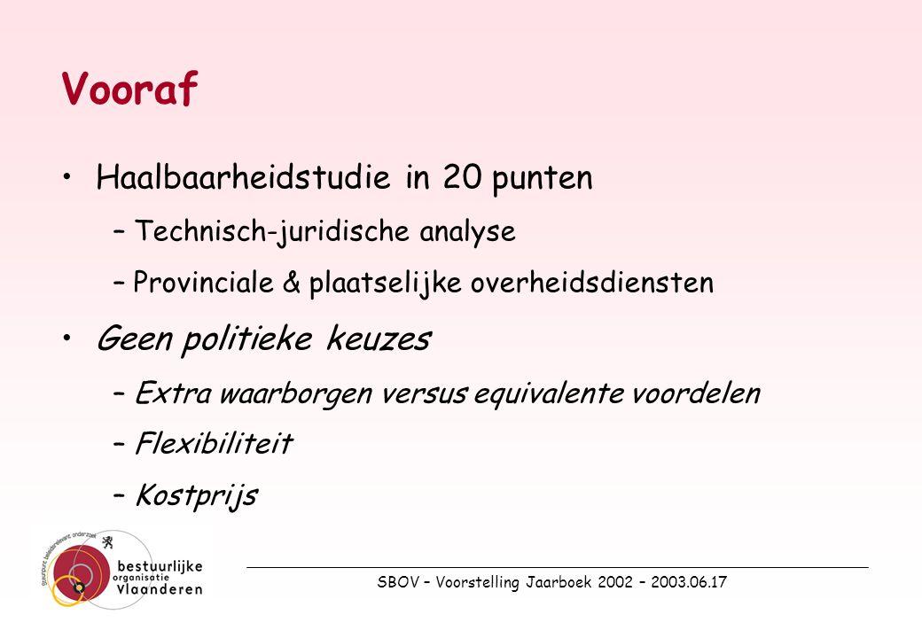 SBOV – Voorstelling Jaarboek 2002 – 2003.06.17 20.Impact Gemeente- & Provinciedecreet Van een nieuw Gemeente- & ProvinciedecreetVan een nieuw Gemeente- & Provinciedecreet Naar een VERNIEUWEND Vlaams Gemeentedecreet & Provinciedecreet?Naar een VERNIEUWEND Vlaams Gemeentedecreet & Provinciedecreet?