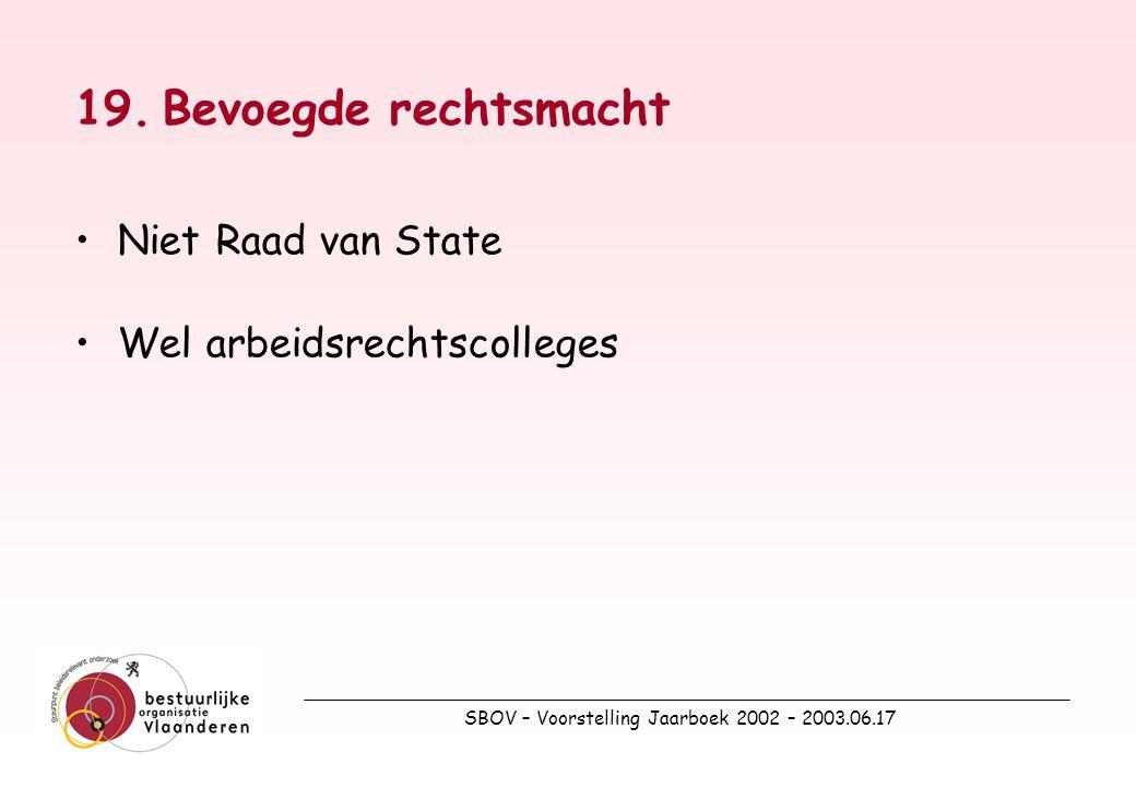 SBOV – Voorstelling Jaarboek 2002 – 2003.06.17 19.Bevoegde rechtsmacht Niet Raad van State Wel arbeidsrechtscolleges