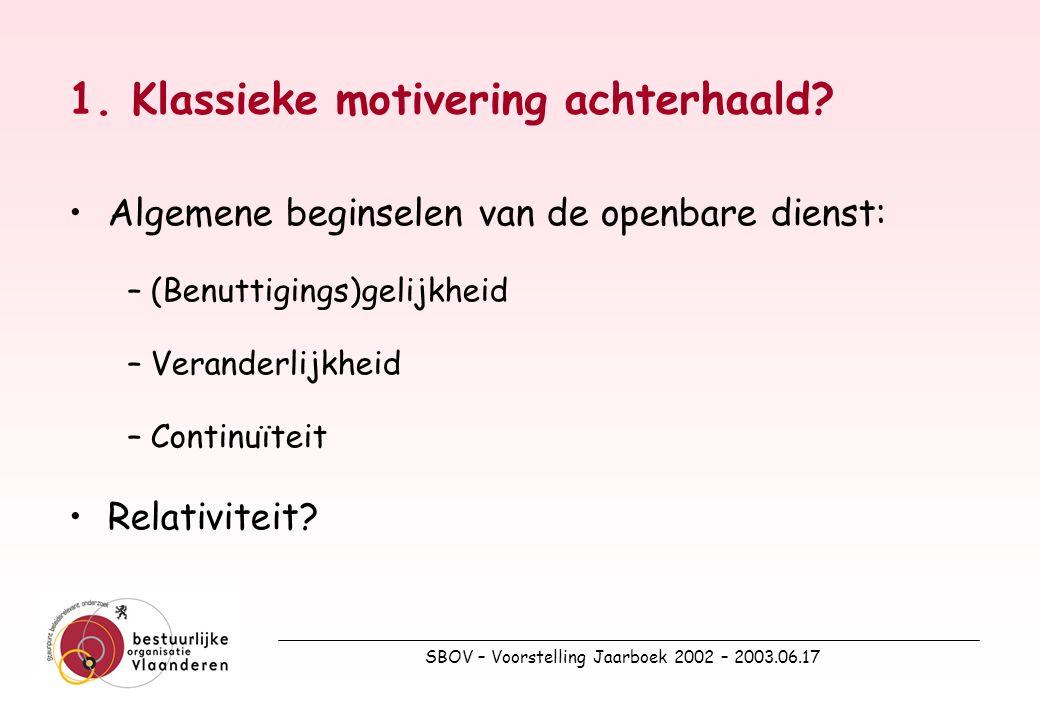 SBOV – Voorstelling Jaarboek 2002 – 2003.06.17 1. Klassieke motivering achterhaald.