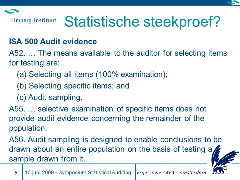 Statistische steekproef.ISA 500 Audit evidence A52.