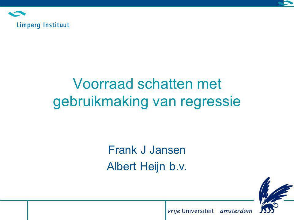 28 april 2010 - Symposium Statistical Auditing Slide 2 Agenda Probleemstelling Historie mbt voorraadschatten Voorraad schatten op basis van regressie Voorraad schatten in de praktijk