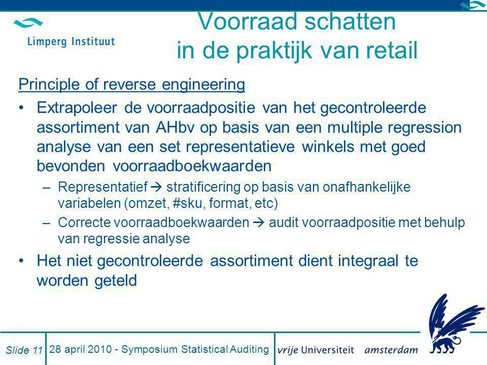 28 april 2010 - Symposium Statistical Auditing Slide 11 Voorraad schatten in de praktijk van retail Principle of reverse engineering Extrapoleer de vo