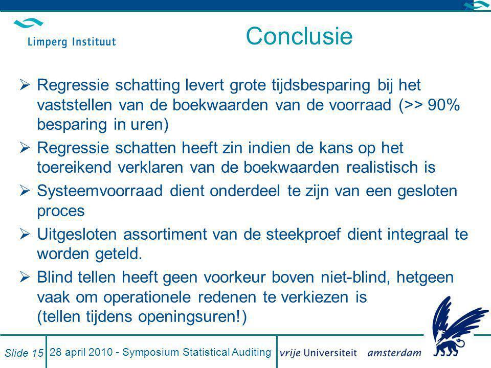 28 april 2010 - Symposium Statistical Auditing Slide 15 Conclusie  Regressie schatting levert grote tijdsbesparing bij het vaststellen van de boekwaa