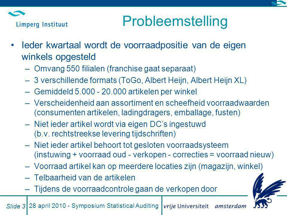28 april 2010 - Symposium Statistical Auditing Slide 3 Probleemstelling Ieder kwartaal wordt de voorraadpositie van de eigen winkels opgesteld –Omvang