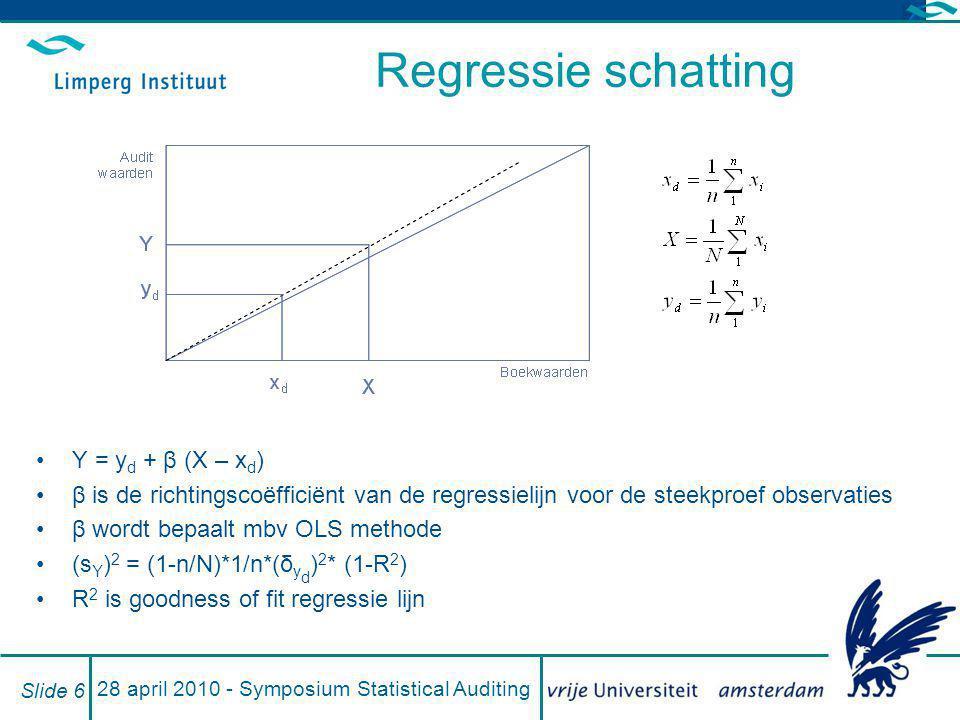 28 april 2010 - Symposium Statistical Auditing Slide 6 Regressie schatting Y = y d + β (X – x d ) β is de richtingscoëfficiënt van de regressielijn vo