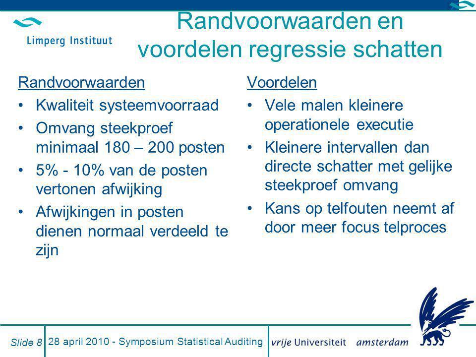 28 april 2010 - Symposium Statistical Auditing Slide 9 Resultaat regressie schatten Ondergrens Y Bovengrens Y | X Bekende fout = x - y Waarschijnlijke fout = (X - Y) – ( x - y) Materialiteit > maximale fout  systeemwaarden geaccepteerd | Y Maximale fout = max{abs(X - ondergrens);abs(X - bovengrens)} Verwachte fout = X - Y (=boekwaarden systeem)(auditwaarden =)