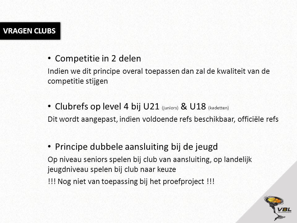 Competitie in 2 delen Indien we dit principe overal toepassen dan zal de kwaliteit van de competitie stijgen Clubrefs op level 4 bij U21 (juniors) & U